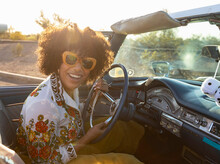 Happy Gorgeous African American Teen  With Big Smile In Car