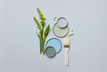 Blue And Green Lids Of Paints And Paint Brush