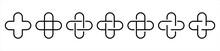 Medical Cross Set Icons On White Backdrop. Hospital Logo Plus. Vector Illustration.