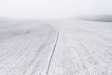 Empty Field Covered By Snow