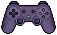 Pixel Art Video Game Joystick 8bit Icon On White Background.
