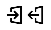 Entrance, Exit Door Way With Arrow Icon Vector Illustration.