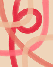 Modern Abstract Line Painting In Pink