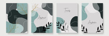 Set Of Abstract Leaf Floral Boho Creative Universal Artistic Templates. Abstract Trendy Art Card. Good For Poster, Card, Invitation, Flyer, Cover, Banner, Placard, Brochure And Other Graphic Design