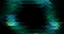 Abstract Triangle Dark Greenish Blue Mosaic Luxury Retro Polygon Shapes Pattern With Lines Triangular Geometric Texture On Black.