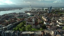 View From Above Of Portsmouth Cathedral And Spinnaker Tower At The Coast In Portsmouth, United Kingdom. Aerial