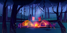 Night Camping With Tents, Campfire And Tourist Stuff In Dark Forest. Cozy Traveler Halt With Chair, Drying Clothes On Nature Landscape With Trees And Glowworms Scenery View Cartoon Vector Illustration