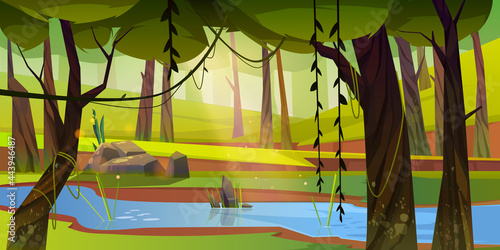 Cartoon forest background with stream flow under green trees with lianas along rocky shore. Wild nature landscape, beautiful scenery view, summer or spring wood area with plants, Vector illustration