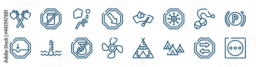 Obraz na plátně laundry instructions icons set such as no mobile phone, keep right, sleigh bell, pothole, no hoist, two way outline vector signs