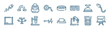 Science Icons Set Such As Omega, Fertilization, Convex, Drawing Board, Biochemistry, Scientific Calculator Outline Vector Signs. Symbol, Logo Illustration. Linear Style Icons Set. Pixel Perfect