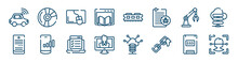 Computer Technology Icons Set Such As Blu Ray, Webpage, Robotic Arm, Computer Server, Online Test, Solid State Drive Outline Vector Signs. Symbol, Logo Illustration. Linear Style Icons Set. Pixel
