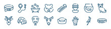 Dog And Training Icons Set Such As Leash, Hedgehog Head, Fish Bowl, Deer Head, Snake Head, Nymphicus Hollandicus Outline Vector Signs. Symbol, Logo Illustration. Linear Style Icons Set. Pixel