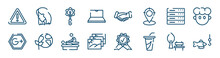 Icons Set Such As Hair, Notebook, Server, Google Plus, Massage, Park Outline Vector Signs. Symbol, Logo Illustration. Linear Style Icons Set. Pixel Perfect Vector Graphics.