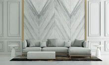Modern Interior Design Of Living Room And  Marble Wall Pattern Background