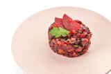 Plate with tasty tartare salad on white background