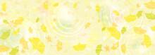 カラフルに色づいた銀杏の葉の横長背景イラスト