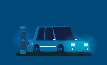 Flat Vector Illustration Of Electric Car Charging At The Charger Station.