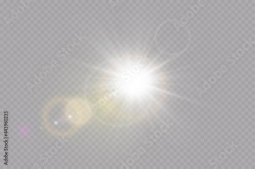 Stampa su Tela Vector transparent sunlight special lens flare light effect