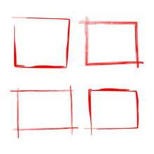 Set Of Red Rectangles Brush Strokes As Frames. Square Borders.