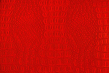 Red Crocodile Leather Texture. Abstract Backdrop For Design.
