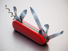 Generic Swiss Knife Isolated On White Background. 3D Illustration
