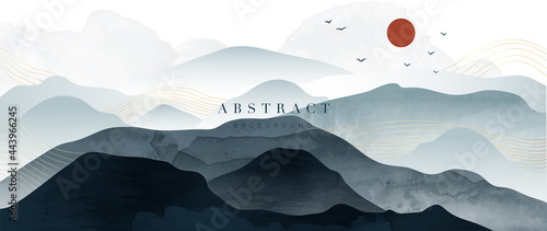 Mountain and golden line arts background vector. Oriental Luxury landscape background design with watercolor brush and gold line texture. Wallpaper design, Wall art for home decor and prints.