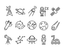 Icon Set Of Flat Space Symbols. Pictogram For Web. Line Stroke. Isolated On White Background. Vector Eps10