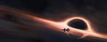 Spaceship Sailing On The Orbit Of The Black Hole, 3D Illustration