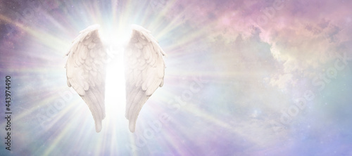 Foto Heavenly Guardian Angel Concept Sky Banner - beautiful angelic wings with bright