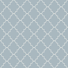 Monochrome Blue Geometric Seamless Pattern. Retro Tileable Backgrounds Line Grid. Vintage Style Classic Texture For Wallpaper And Fabric Print Designs