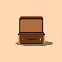 Vintage Theme Suitcase Vector Illustration