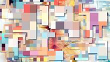 Abstract Mottled 3d Urban Backdrop, Pixel Art Technology Pattern Background. Random Colorful Mosaic, Industrial Decor