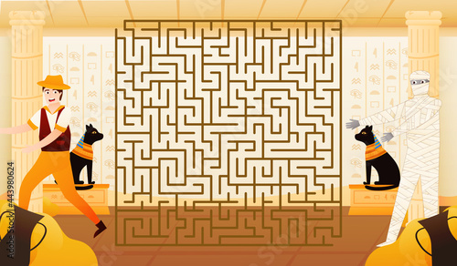 Billede på lærred Colourful riddle labyrinth for kids with archaelogist trying to run away from mu