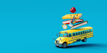 School Bus With School Accessories And Books On Blue Background 3D Rendering, 3D Illustration