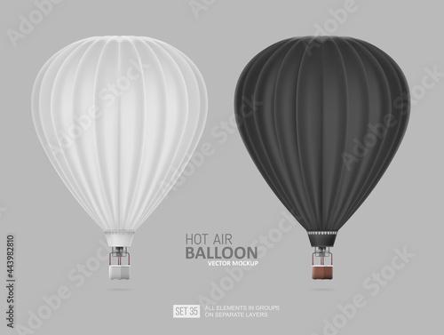 Fotografie, Obraz Realistic Hot Air Balloon white and black color - vector Mockup Template for branding design