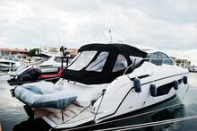 Marine Parking Of Modern Motor Boats. Luxury Yachts Docked In Sea Port.