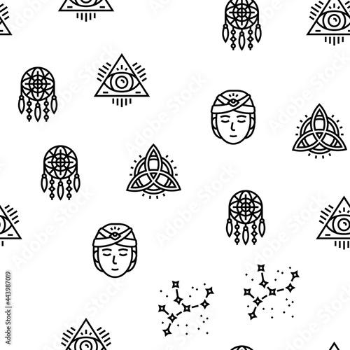 Obraz na plátně Astrological Objects Vector Seamless Pattern Thin Line Illustration