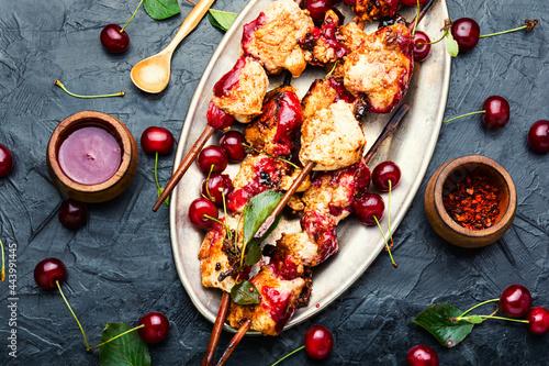 Fotografie, Obraz Chicken skewers in cherry marinade