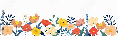 Flower and leaves seamless background vector. Blooming flowers collection with leaves, floral bouquets. Spring art wallpaper with botanical elements. Horizontal  banner design for the spring holiday.