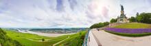Wonderful Rhine Landscape Pamorama With Germania Monument.