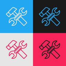 Pop Art Line Crossed Hammer And Wrench Spanner Icon Isolated On Color Background. Hardware Tools. Vector