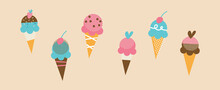 Set Of Tasty Ice Creams. Sweet Summer Delicacy Sundaes, Gelatos With Different Tasties, Collection Isolated Ice-cream Cones And Popsicle With Different Topping. Vector Illustration For Web, Design, Pr