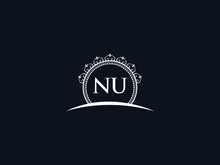 Luxury NU Letter, Initial Black Nu Logo Icon Vector For Hotel Heraldic Jewelry Fashion Royalty With Brand Identity And Print Template Image