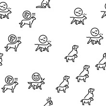 Dog Domestic Animal Vector Seamless Pattern Thin Line Illustration