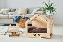 Little Pet Booth Is On The Floor In Modern Domestic Room