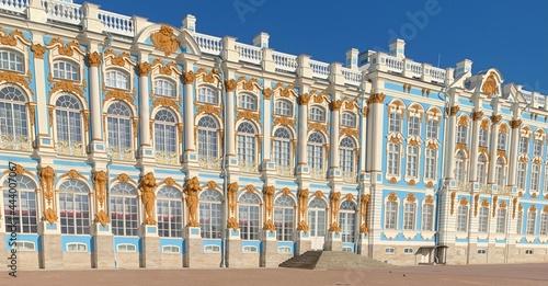 Slika na platnu Royal palace, blue with golden , russian tsar architecture