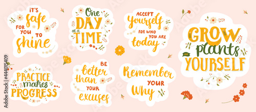 Fotografie, Obraz Set of stickers with motivational and inspirational lettering