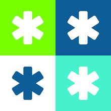 Asterisk Flat Four Color Minimal Icon Set