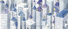 Hand Painted Pencil Line Drawing Watercolor Style High Angle Painting City Center Buildings Buildings Crowded But Bright