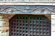 Wooden Gate In Medieval Style . Wine Cellar Entrance